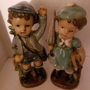 Vtg BOY & UMBRELLA GIRL Hummel Inspired Porcelain
